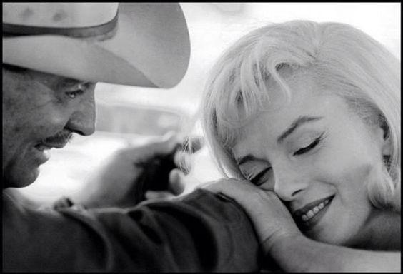 "Clark Gable as Gay Langland & Marilyn Monroe as Roslyn Tabor in ""The Misfits"" release date February 1961"