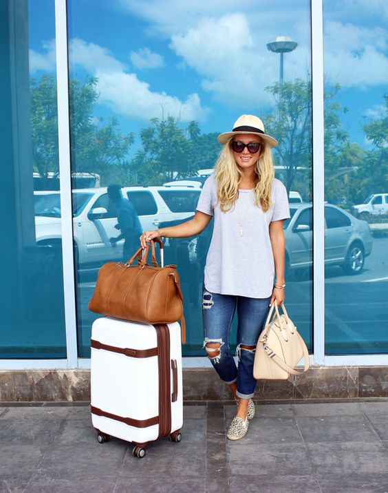 Cute Travel Outfit, Airplane Style, Panama Hat, Ripped Jeans, Givenchy Bag, Weekender Tote, Carry on Suitcase
