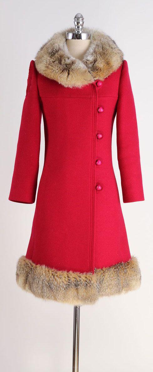 vintage 1960s coat . red wool . coyote fur . by millstreetvintage
