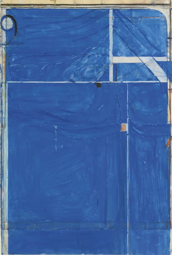 RICHARD DIEBENKORN 1922 - 1993 UNTITLED #2 signed with initials and dated 82 gouache, crayon and pasted paper on paper 33 1/4 by 22 1/4 in.