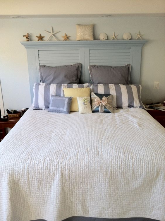 New Headboard We Made From A Reused Louvered Door
