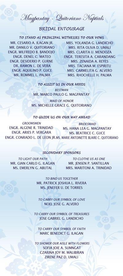 Wedding List on Bridal Entourage List