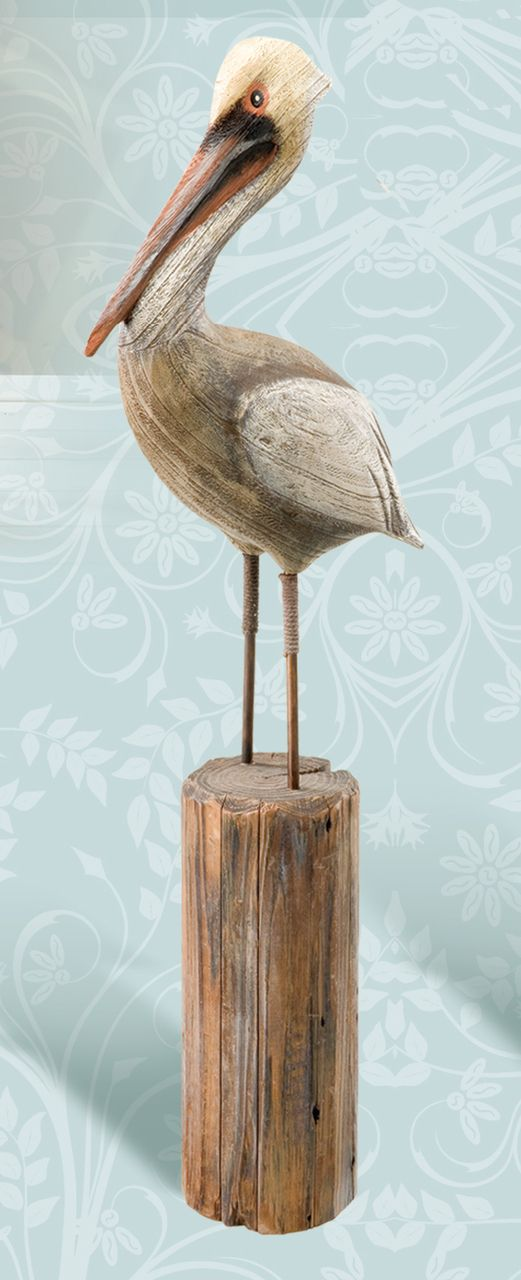 Find Hand Carved Decorative Wooden Pelican on Post, Coastal Bird Decor, & Nautical Pilings at the Best Prices from Everything Nautical
