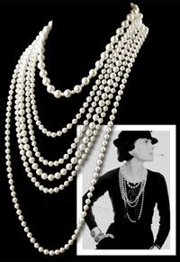 Coco Chanel's personal style followed a very simple rule: dress with high quality basics and combine them with an outstanding accessory. These were her 'ingredients' for an elegant and timeless look.  In some of her most famous portraits you will see Coco Chanel wearing strands upon strands of pearls layered over a simple black blouse, giving a feminine touch to her modern, slightly masculine designs. Pearls were Coco's favorite jewelry pieces. gem organic strands