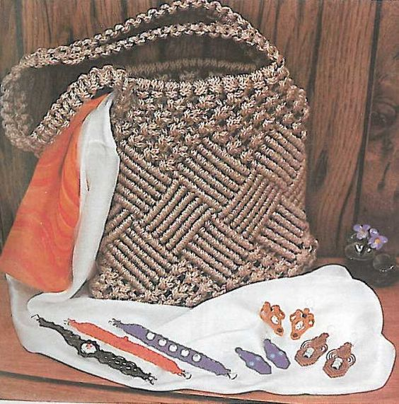 """1970's Vintage Macrame """"Checkmate"""" Purse with Optional Fringe PDF Pattern with Knotting Instructions Included"""