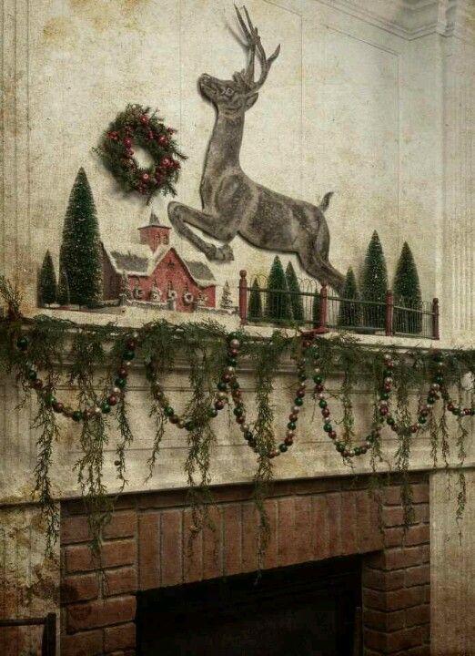 Vintage Christmas Mantel Decorations : Mantels mantles and reindeer on