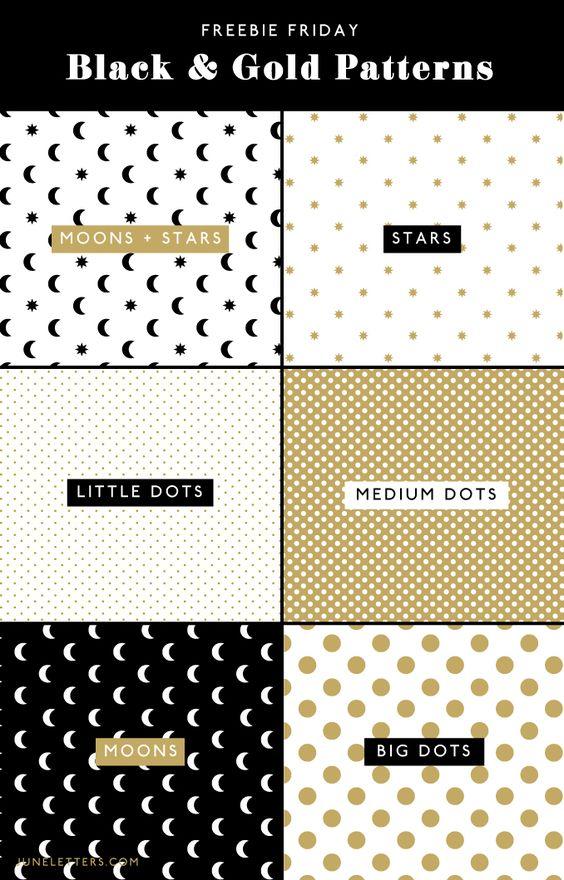 Freebie Friday! Black & Gold Seamless Patterns — June Letters Studio
