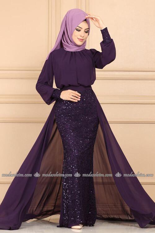 Modaselvim Abiye Sifon Pelerinli Tesettur Abiye Pn2044 Mor Fashion Dresses Formal Dresses Long