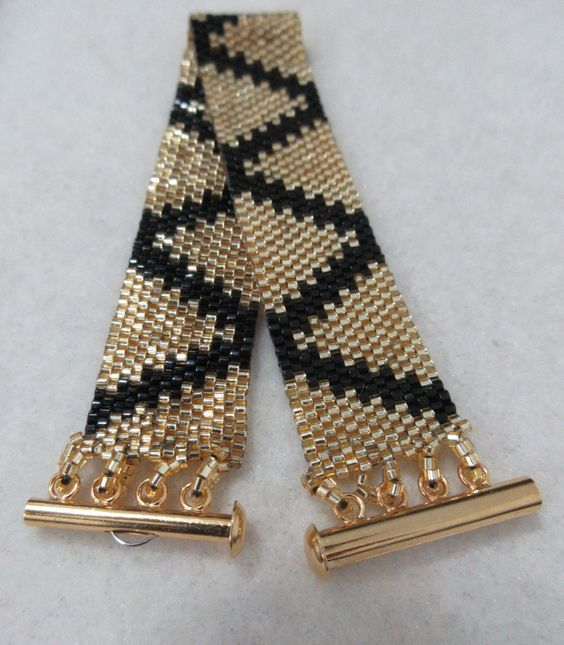 Peyote Stitch Bracelet, Black and Silver Lined Gold Zig Zag Design Woven…