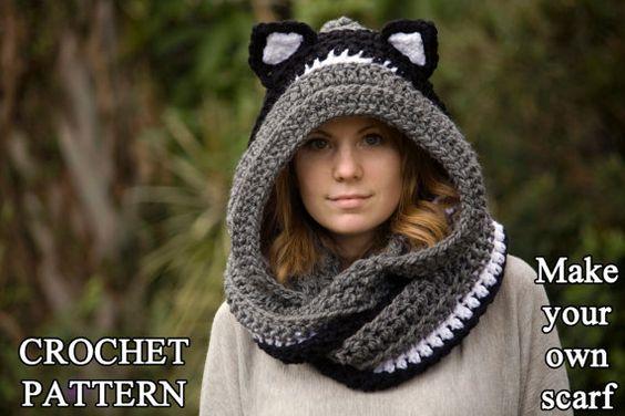 HÄKELN Sie Muster Katze Schal Scoodie Kapuzen von WellRavelled