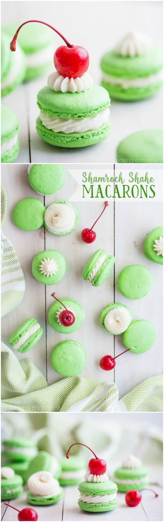Shamrock Shake Macarons Recipe via Baking a Moment - So much fun for St. Patrick's Day! #easystpatricksdaydesserts #stpatricksday #stpatricksdayparty #stpatricksdaypartyfood #lucky #luckygreen #luckytreats #shamrocks #clovers #rainbowtreats #leprechantreats