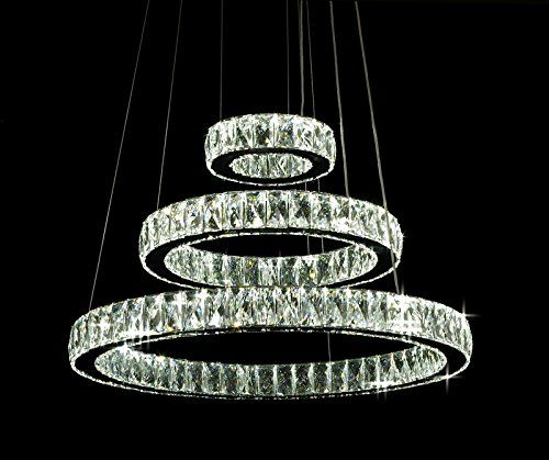 Crystal Elipse 3 Ring Chandelier Led Chandeliers Modern Contemporary Lighting 24 Wide W Adjustable C Led Chandelier Led Crystal Chandelier Modern Chandelier