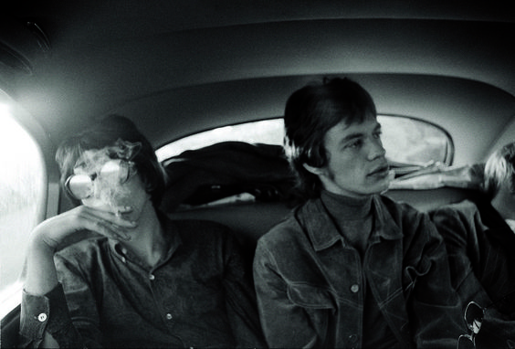 The Glimmer Twins in a limo in London, 1967