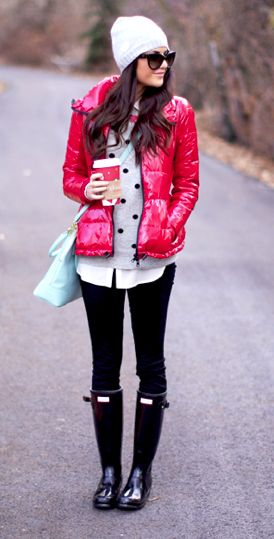 Cute Winter Outfit - Polka Dot Blouse, Pink Puffer Down Jacket ...