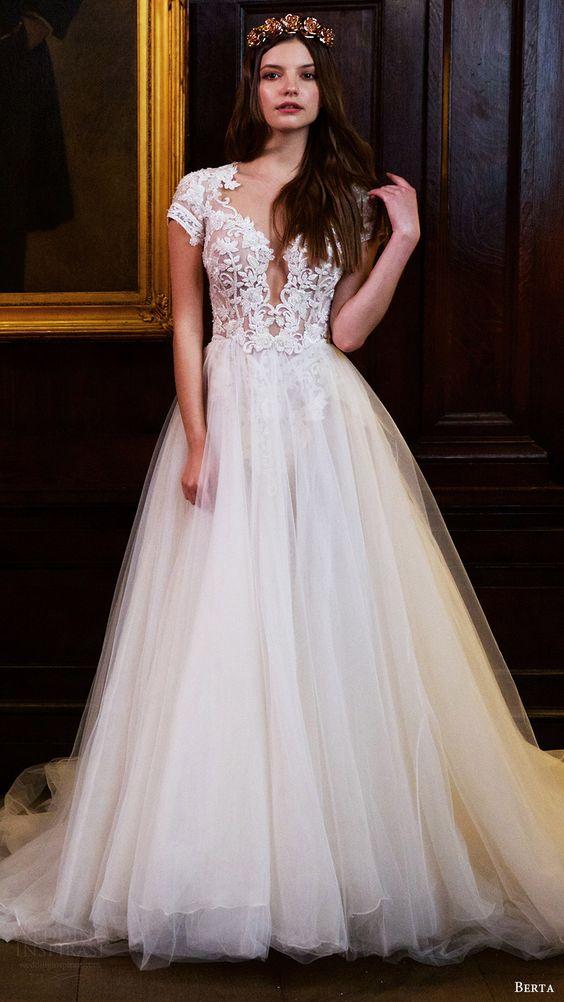 berta bridal fall 2016 cap sleeves deep vneck aline wedding dress (16 112) mv: