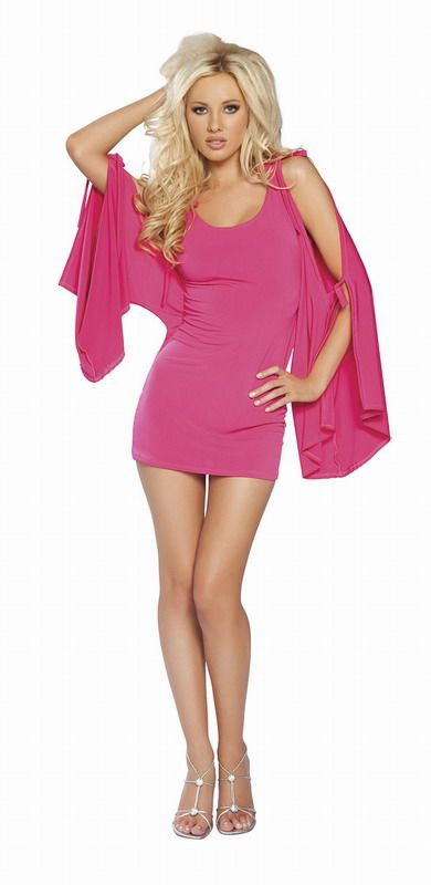 Hot Pink Flare Sleeve Mini - Click Image to Close