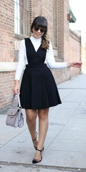 Black Dress Jumper White Tee Turtleneck Sun Brun Gray Bag Black Shoe Pumps Layer Fall Winter Wor Classy Dress Outfits Classy Work Outfits Pinafore Dress Outfit