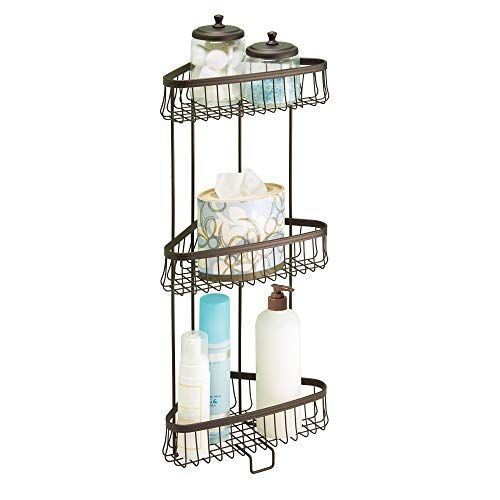 Metal Wire Corner Standing Shower Caddy 3 Tier Bath Shelf Baskets For Towels Soap Shampoo Lotion Accessories Or Bathroom Storage Bathroom Shelves For Towels