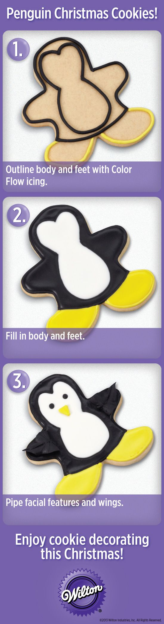 Make cute Penguin holiday cookies with easy steps from @Wilton Cake Decorating #wiltoncookieelf