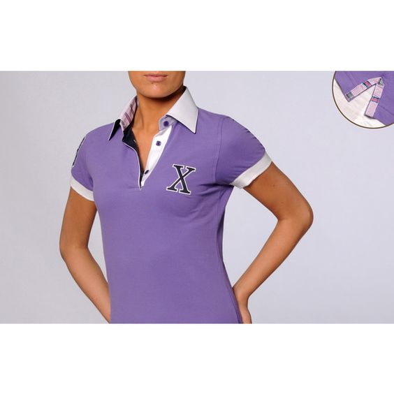 Purple Short Sleeves Polo Shirt Parme Striped Braid 39, - Dress Shirts... via Polyvore
