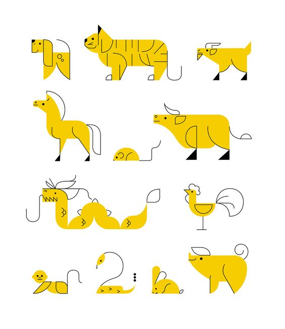 Even when simplified to simple lines and one solid color, people can still recognize what animal each icon is representing.