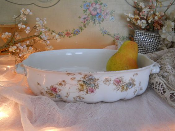 antique casserole vegetable open serving bowl by polkadotrose, $12.00
