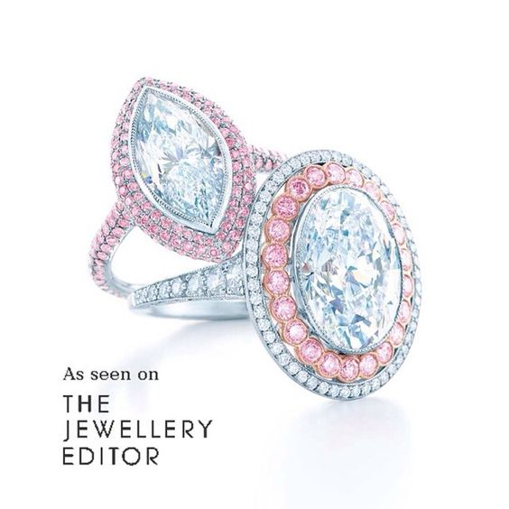 Among the most covetable big engagement rings in the world - @tiffanyandco on the left set with a 3.04ct internally flawless marquise diamond and pink diamonds; on the right a 6.00ct diamond with pink and white diamonds #TiffanyandCo #engagementring #bridal #wedding #luxury #ultimateluxury #pinkdiamonds #diamondring