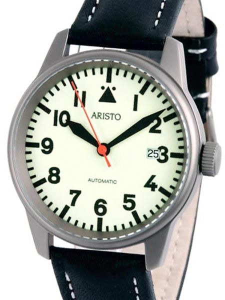 Aristo 5H70TI Titanium Case Watch with Swiss V24 automatic movement, exhibition back, fully luminous dial, and black hands and hour markers