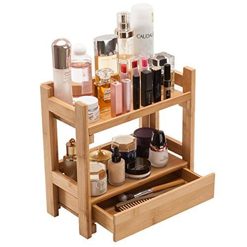 Gobam Makeup Organizer Holder Cosmetic Storage Bathroom Organizer Display Shelf With Drawer Large Capacity And Easily Assembled Suitable For Mom Or Wi
