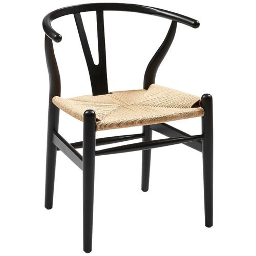 Hans Wegner Style Natural Wood Wishbone Chair with Black