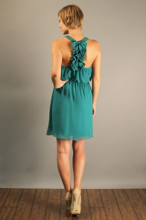 {Ruffled Back Dress - Jade} such a cute back detail! + you can wear a racer-back bra ;)