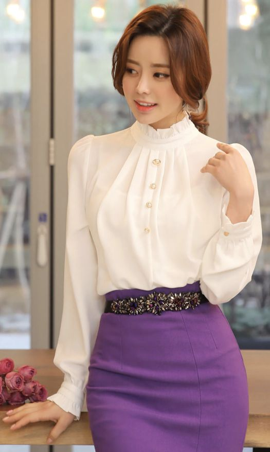 StyleOnme_Pearl Button Frill Trim Blouse #white #blouse #frill #koreanfashion #kstyle #kfashion #dailylook #springtrend