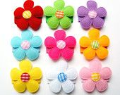 Baby Hair Snaps, Baby Hair Clips, Infant Hair Clips - Ultimate Colorful Felt Flower Baby Hair Snaps- Set of 9