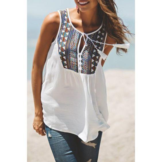 $10.26 Stylish White Sleeveless Tribal Embroidered Women's Tank Top