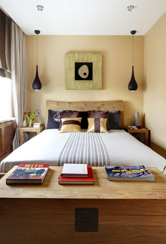 kleines schlafzimmer einrichten sanfte wandgestaltung hängelampen ...