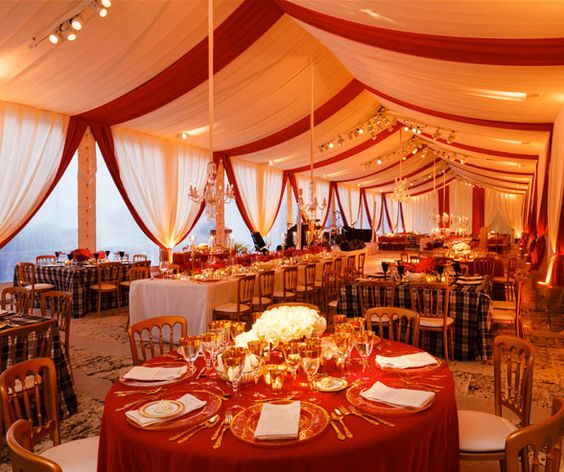Gold Wedding Reception: The Tent Was Stunningly Striped With Cream And Red Organza