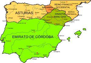 La péninsule ibérique vers 850, à l'apogée des BANU QUASI, qui dominent presque l'ensemble de la Marche supérieure d'Al-Andalus- BERNARD DE SEPTIMANIE, 2) 1° ANNEES DANS LE MIDI ET DEFENSE DE BARCELONE, 4: En 826, à la mort de RAMPON, les 2 frères guilhelmides sont suffisamment influents auprès de LOUIS LE PIEUX et Bernard est investi des comtés de Barcelone et de Gérone. Mais peu après sa désignation, Bernard doit affronter une révolte menée par un certain AISSO mal identifié.