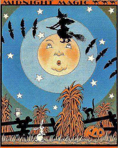 Midnight Magic--Vintage Child Life Halloween Illustration
