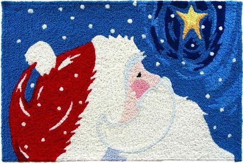 Star Gazing Santa Rug - Christmas Door Mat