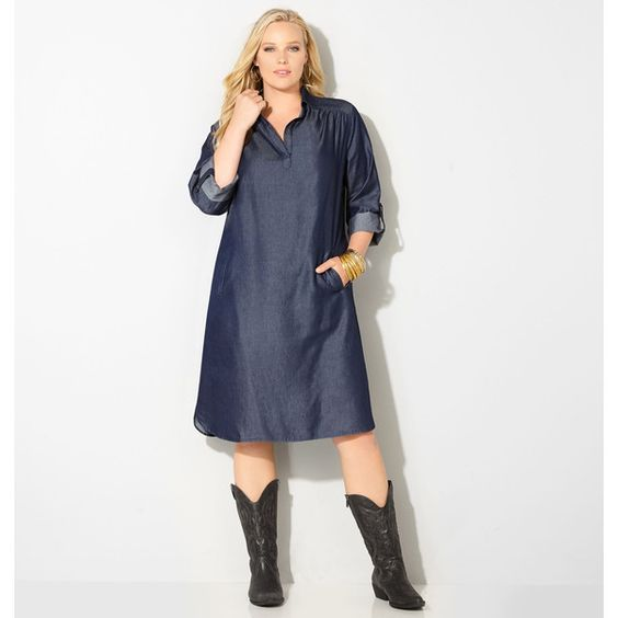 Avenue Plus Size Collared Denim Dress 20 Liked On Polyvore