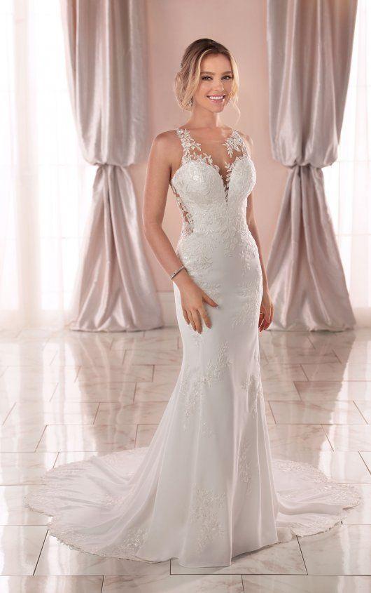Modern Crepe Wedding Dress With Scalloped Train Stella York