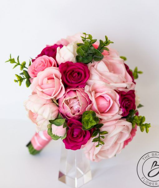 Blush Pink And Fuchsia Roses Real Touch Flowers Bouquet The Bridal Flower Silk And Real Touch Wedding Bouquets Wedding Bouquets Pink Real Touch Wedding Bouquet Bridal Flowers