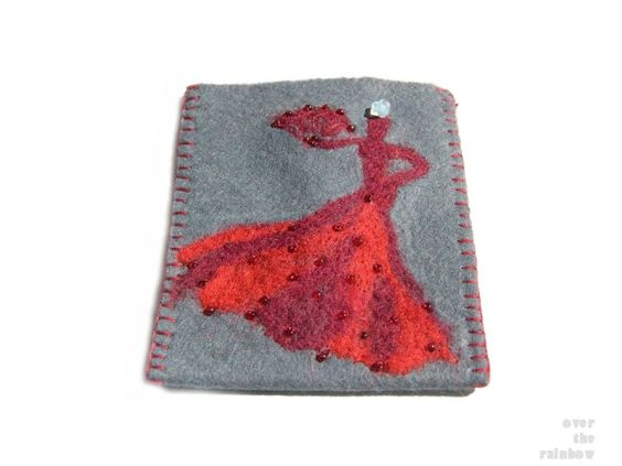 Felt smart phone sleeve, gadget case, phone pouch with flamenco dancer, needle felted, grey and red. $19.00, via Etsy. (love her shop)