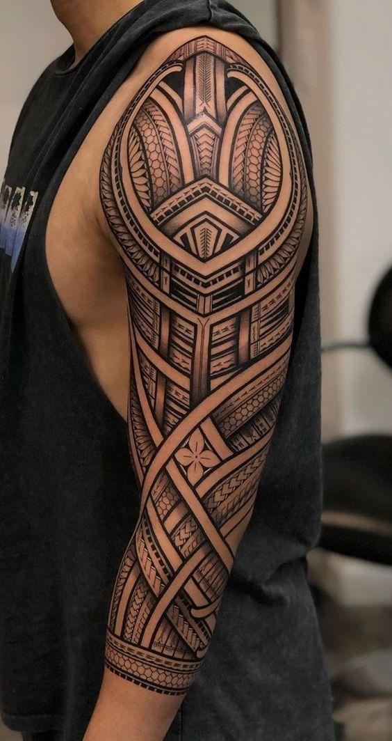 Maori Tattoos Braccio Borneo Tattoos In 2020 Tribal Sleeve Tattoos Polynesian Tattoo Sleeve Tribal Tattoos For Men