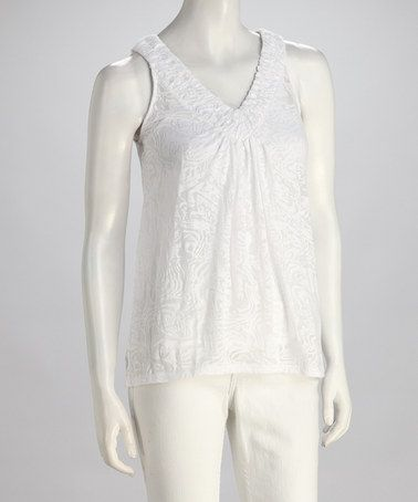 Take a look at this White Jungle Burnout V-Neck Top on zulily today!