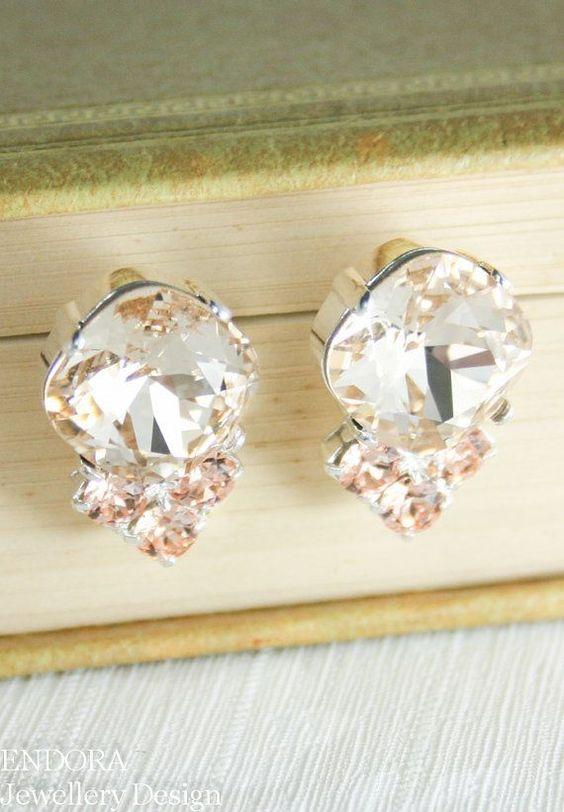 Peach and cream wedding Peach earrings Peach