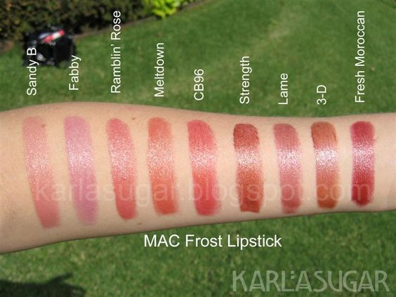 mac frost lipstick swatches sandy b fabby ramblin