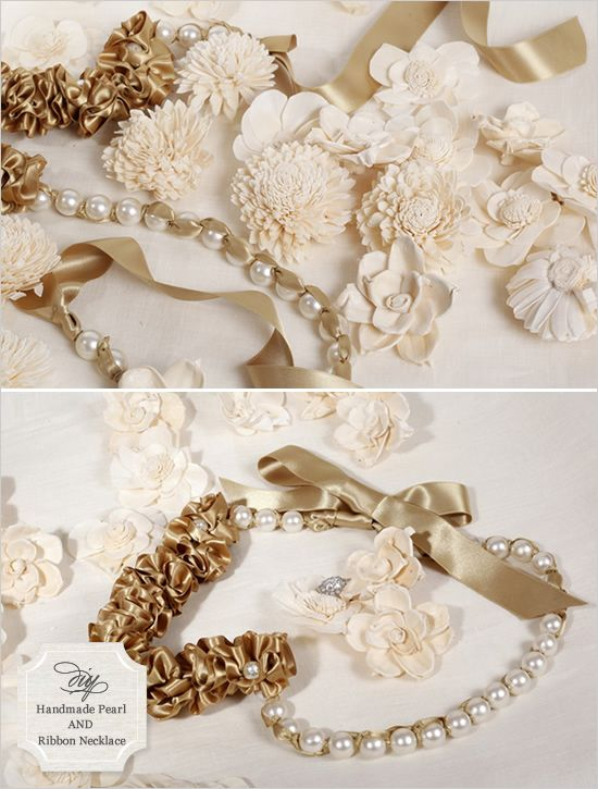 handmade ribbion and pearl necklace