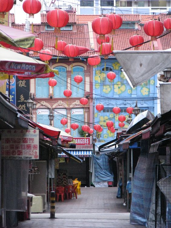 Singapore, Down one of the side streets of China Town #Hawker Stalls #MyPhotos taken by Falconercla