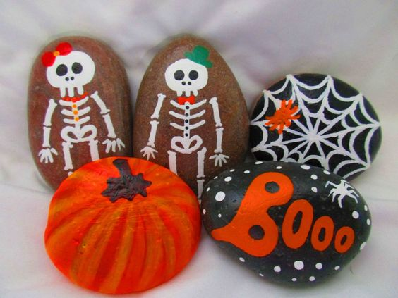Hand-painted Halloween rocks. GHOST BAT BLACK CAT SKELETON BOY (sold) SKELETON GIRL (sold) R.I.P. PUMPKIN SPIDER SPIDERWEB BOOO  Size : 1.5 - 2.5 inch  The listed Price is for ONE rock. Please send me a message with your selection. Available till supplies last...  $5.50 Discount price and lower Shipping cost available if you order 5 rocks or more. Please send me a message with your selection before you place the order to get the discount.  Thank you for visiting my PlaceForYou shop